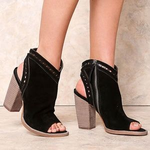 Dolce Vita Natasha Suede Open-Toe Heeled Booties